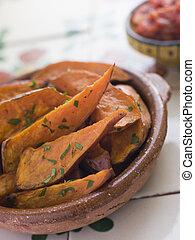 Sweet Potato Wedges with Tomato Salsa