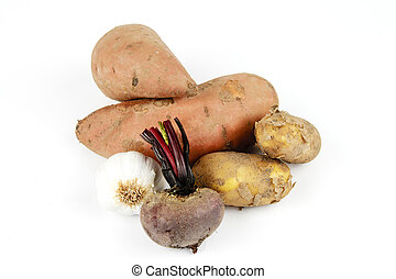 Sweet Potato with Garlic, Beetroot and Potatoes
