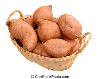sweet potatoes in bamboo basket isolated on white background