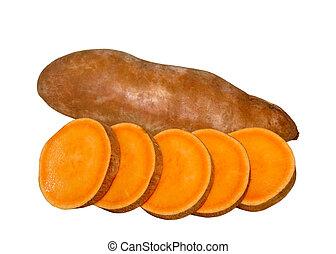 Sweet potatoes yams isolated on white background