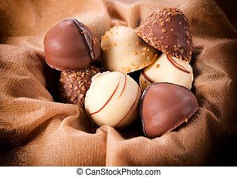 Sweet pralines - White and dark chocolate Belgium pralines