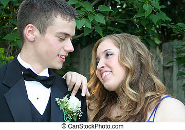 Sweet Prom Couple - Outdoor portrait of a prom couple...
