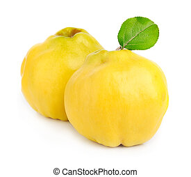 Sweet quince with leaves close up on white