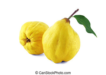 Sweet quinces - sweet quinces with leaves and slice on white...