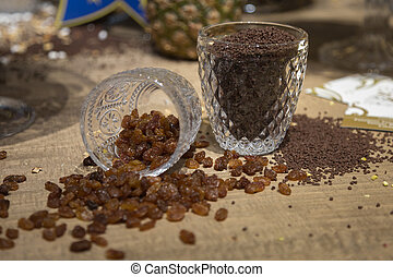 Sweet Raisin and Chocolate Granules in Glass Cups Used to ...