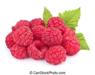 Sweet raspberries with leafs