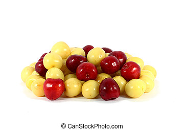 Sweet red and yellow cherries