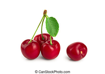 Sweet red cherries with leaves isolated on white background macro