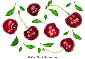 Sweet red cherries with leaves isolated on white background. Top view. Flat lay pattern
