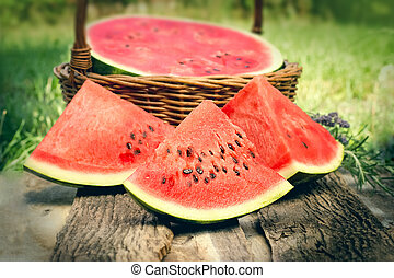 Slices of refreshing watermelon on the table