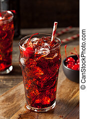 Sweet Refreshing Cherry Cola with Garnish and Straw