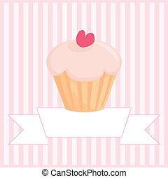 Sweet retro vector cupcake card