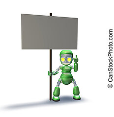 Sweet robot mascot character pointing up to placard sign - A...