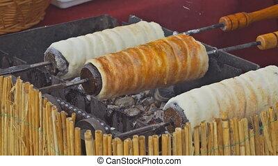 Sweet rolled breaddough shortly before baking. Czech sweet ...