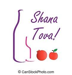 'sweet, rosh, medios, tova, shana, nuevo, judío, hashanah, saludos, año, year'-, o