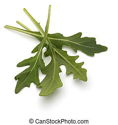 Sweet rucola salad or rocket lettuce leaves isolated on ...