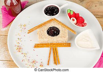 Sweet sandwich in the shape of a cuckoo clock