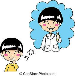 Sweet Scientist Dream - Cute little boy dreaming being a...