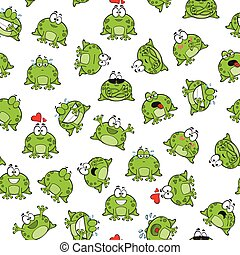 Sweet seamless pattern with frogs