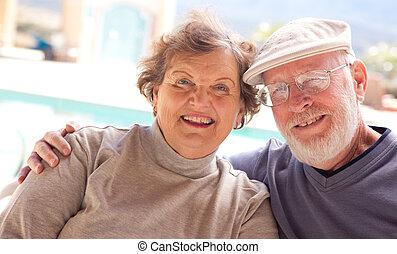 Sweet Senior Adult Couple - Happy Senior Adult Couple...
