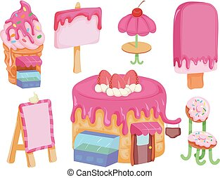 Sweet Shop Elements Illustration