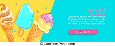 Sweet shop horizontal banner with ice creams and place for text for your design. Great for kids menu, caffee, posters, web, cards, cafeteris advertise.Template vector illustration.