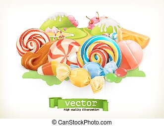 Sweet shop. Swirl candy, lollipop, caramel. Candy land. 3d vector illustration
