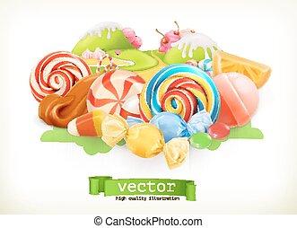 Sweet shop. Swirl candy, lollipop, caramel. Candy land. 3d vector illustration