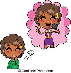 Sweet Singer Dream - Cute little black girl dreaming being a...