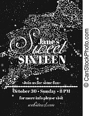Sweet sixteen glitter party invitation flyer template...