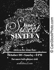 Sweet sixteen glitter party invitation flyer template design.