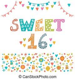 Sweet sixteen. Invitation flyer template design. Cute hand drawn postcard