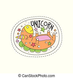 Sweet sleeping unicorn childish patch badge, cute cartoon animal sticker hand drawn vector Illustration on a white background