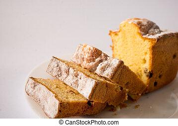 sweet slice of cake on white background