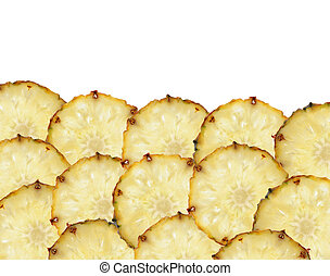 sweet slices of pineapple fruit isolated on white background