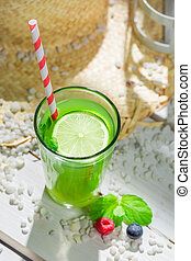 Sweet smoothie with fresh fruits