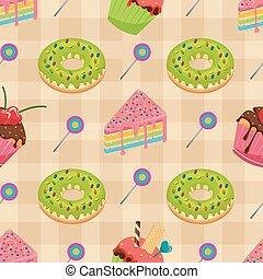 Sweet Snack Food Seamless Pattern Cake Donut Muffin Wallpaper
