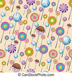 Sweet Snack Seamless Pattern Candy Lollipop Wallpaper Repeatable