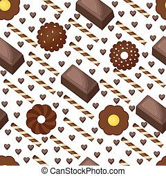Sweet Snack Seamless Pattern Chocolate Bar Biscuit Wallpaper Repeatable