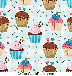 Sweet Snack Seamless Pattern Cupcake Muffin Wallpaper Repeatable