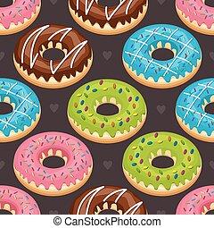 Sweet Snack Seamless Pattern Donut Doughnut Wallpaper Repeatable