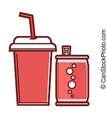 Sweet soda in can and paper cup with straw - Sweet soda in...