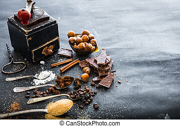 Sweet spices  and chocolate on a table