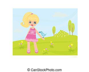 Sweet Spring , girl with bird