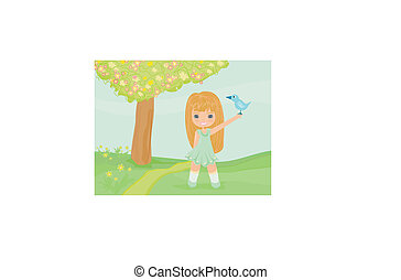 little girl with a bird