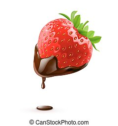 Sweet Strawberries - Strawberry with Chocolate Drop on White...
