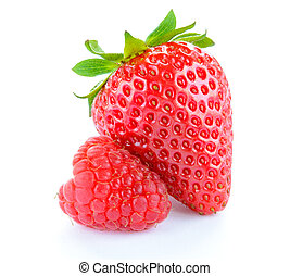Sweet Strawberry and Juicy Raspberry Isolated on the White Background