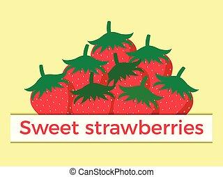 Sweet strawberry flat style. Vector illustration
