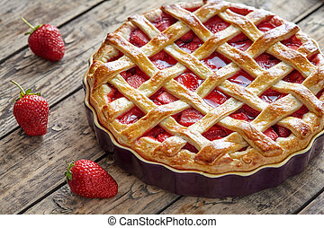 Sweet strawberry pie tart cake traditional baked pastry food