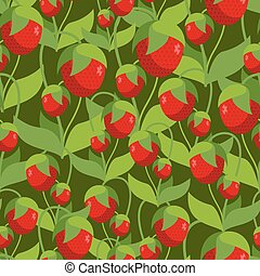 Sweet Strawberry seamless pattern. Background of Many red berries. Vector retro fabric ornament.
